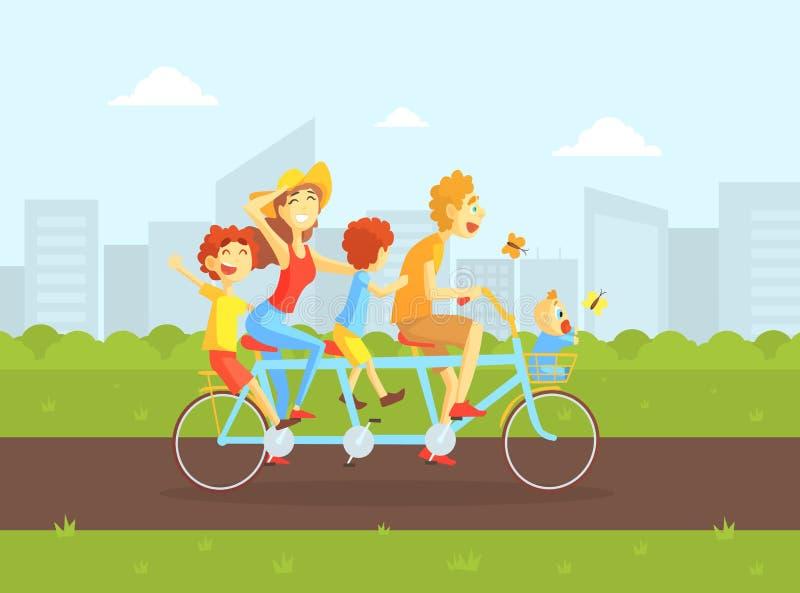 Lycklig familj som rider den tandema cykeln, fadern, modern, dottern och sonen som cyklar på sommarlandskap, utomhus- familj stock illustrationer