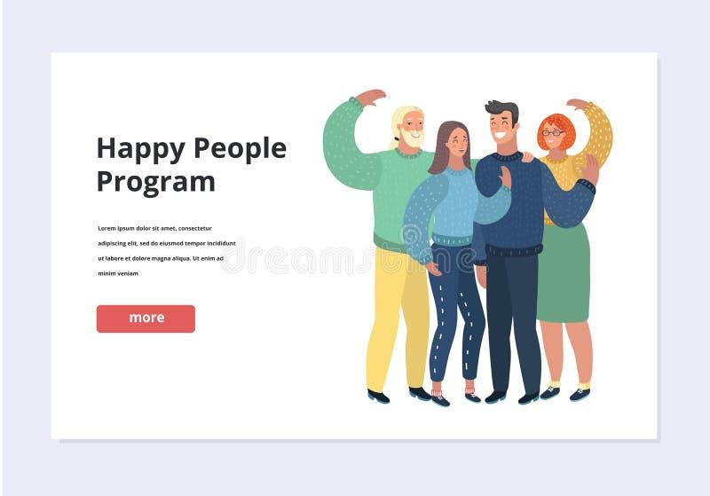 Lycklig familj som rymmer ett baner Plan designvektorillustration vektor illustrationer