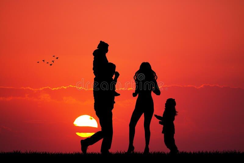 Lycklig familj som ser solnedgången stock illustrationer