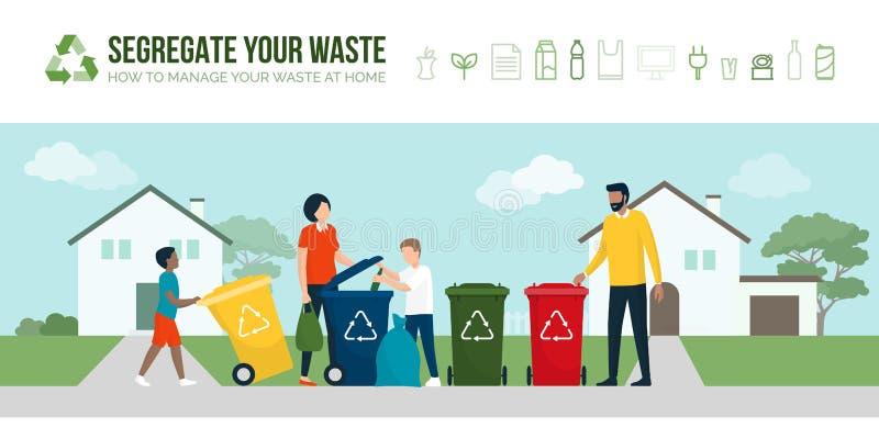 Lycklig familj som sorterar avfalls och återanvändning vektor illustrationer