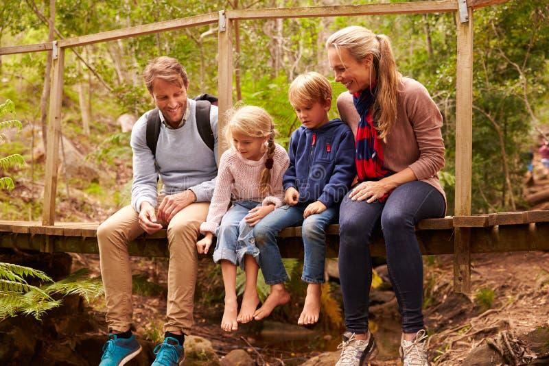 Lycklig familj som spelar på en bro i en skog, full längd royaltyfri fotografi