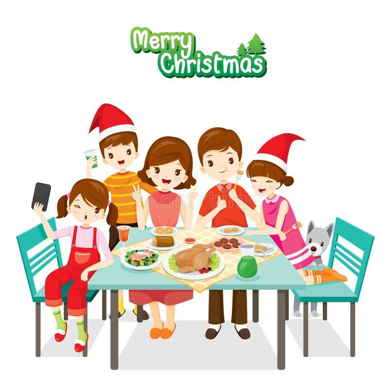 Lycklig familj som tillsammans äter vektor illustrationer