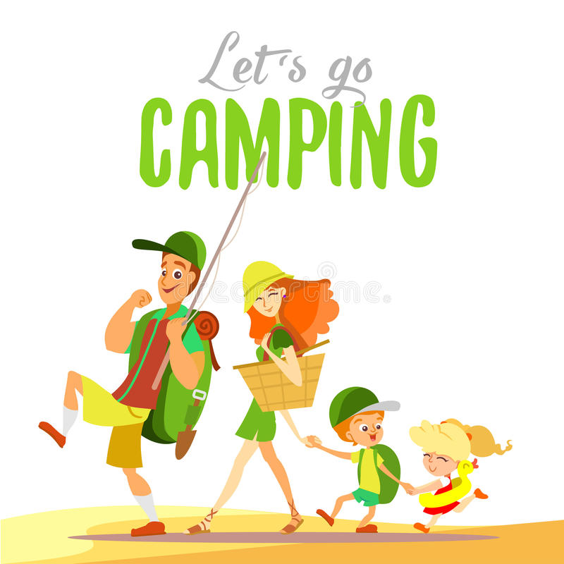 Lycklig familj som tillsammans går på att campa på sommar stock illustrationer