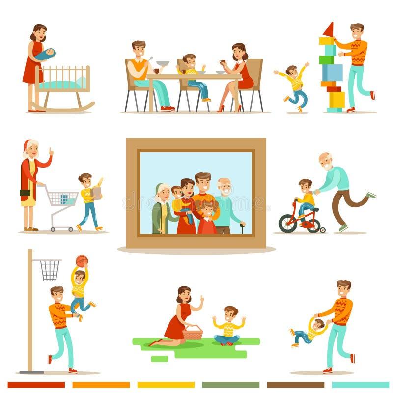 Lycklig familj som tillsammans gör illustrationen för saker som omger den stora familjståendebilden royaltyfri illustrationer