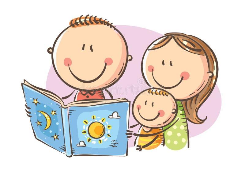 Lycklig familj som tillsammans läser en bok, vektorillustration vektor illustrationer