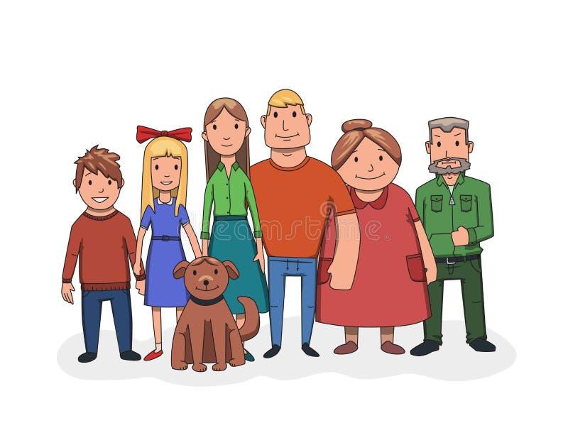 Lycklig familj som tillsammans står, främre sikt Farfar, farmor, fader, moder, ungar och hund Plan vektor stock illustrationer