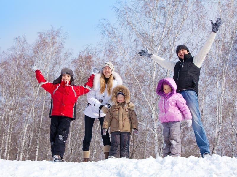 Lycklig familj som warking på vinterparken royaltyfri foto