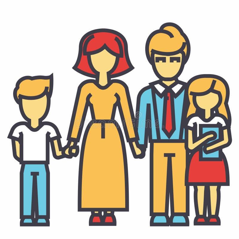 Lycklig familj - son, moder, fader, dotterbegrepp vektor illustrationer