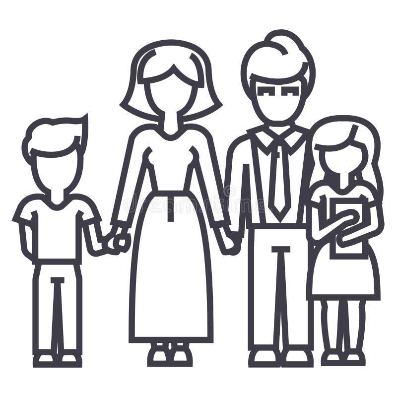 Lycklig familj, son, moder, fader, dottervektorlinje symbol, tecken, illustration på bakgrund, redigerbara slaglängder vektor illustrationer