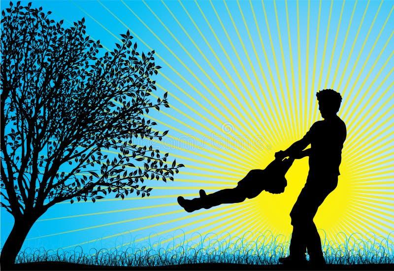Lycklig familj, vektor royaltyfri illustrationer