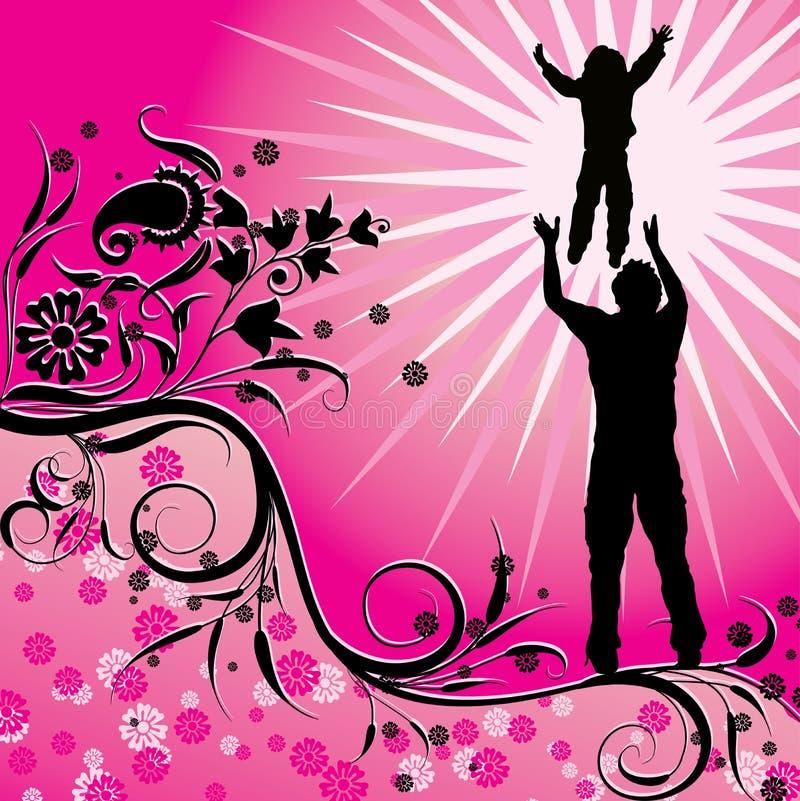 Lycklig familj, vektor stock illustrationer