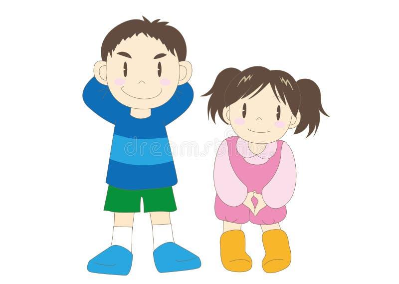 Lycklig familjbild - barn stock illustrationer