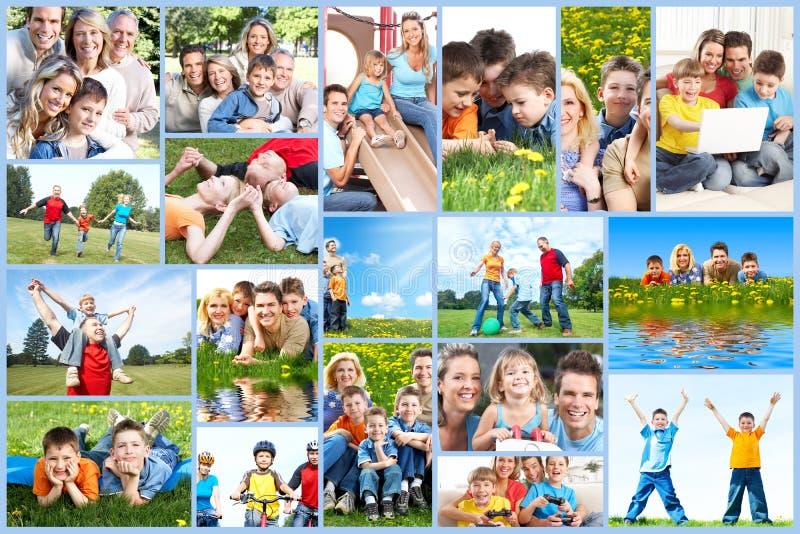 Lycklig familjcollage. arkivfoton