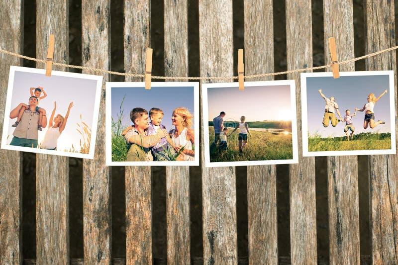 Lycklig familjcollage arkivfoto