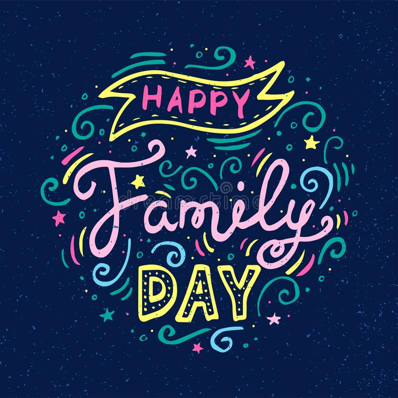 Lycklig familjdagbokstäver Vektorillustration på blå bakgrund vektor illustrationer