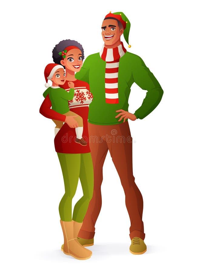 Lycklig familjjulstående Isolerad vektorillustration stock illustrationer
