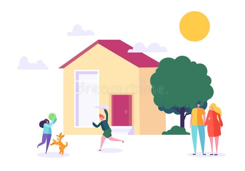 Lycklig familjlek hemma Barn och föräldrar står nära nytt hus Avla, fostra, sonen och dottern tillsammans utomhus stock illustrationer