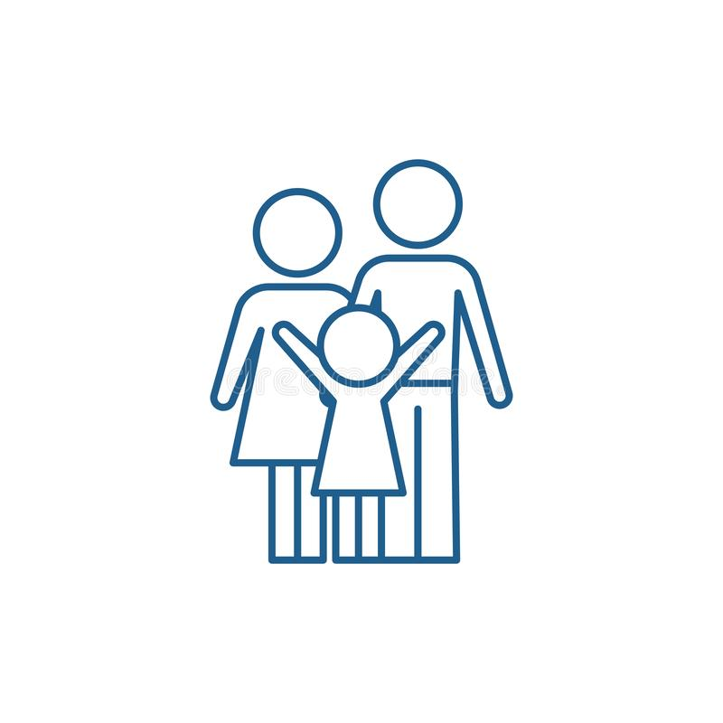 Lycklig familjlinje symbolsbegrepp Plant vektorsymbol för lycklig familj, tecken, översiktsillustration stock illustrationer