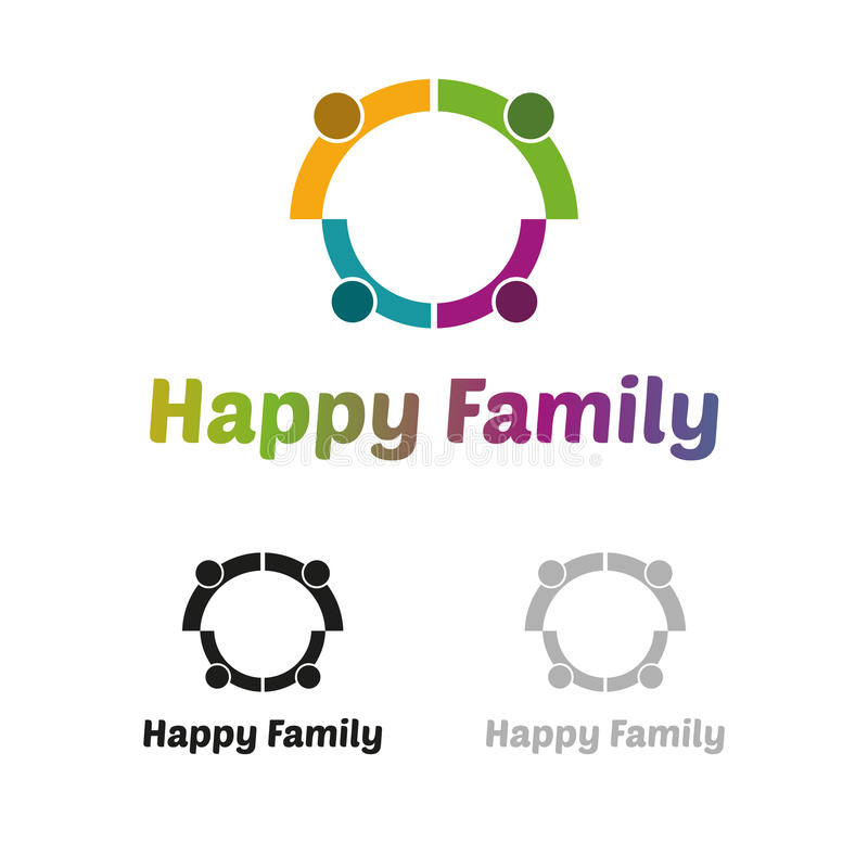 Lycklig familjlogo stock illustrationer