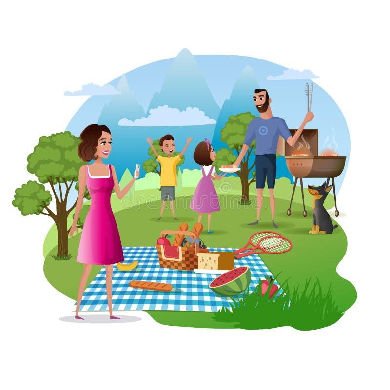 Lycklig familjpicknick och vandring på naturvektor vektor illustrationer
