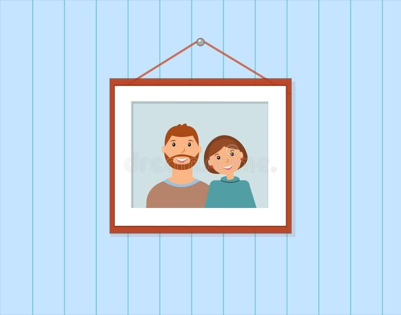 Lycklig familjstående: älska par på den blåa bakgrunden royaltyfri illustrationer