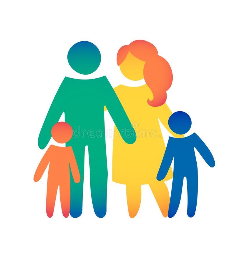 Lycklig familjsymbol som är mångfärgad i enkla diagram Två barn, farsan och mamman står tillsammans Vektorn kan användas som logo royaltyfri illustrationer