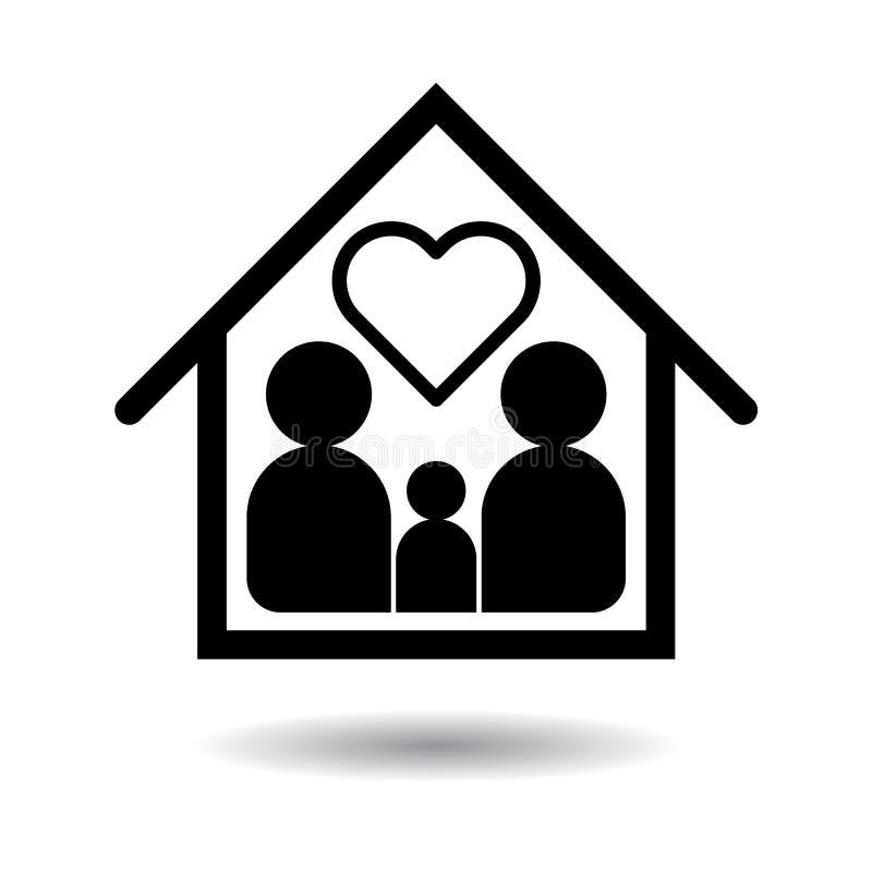 Lycklig familjsymbolssvart stock illustrationer