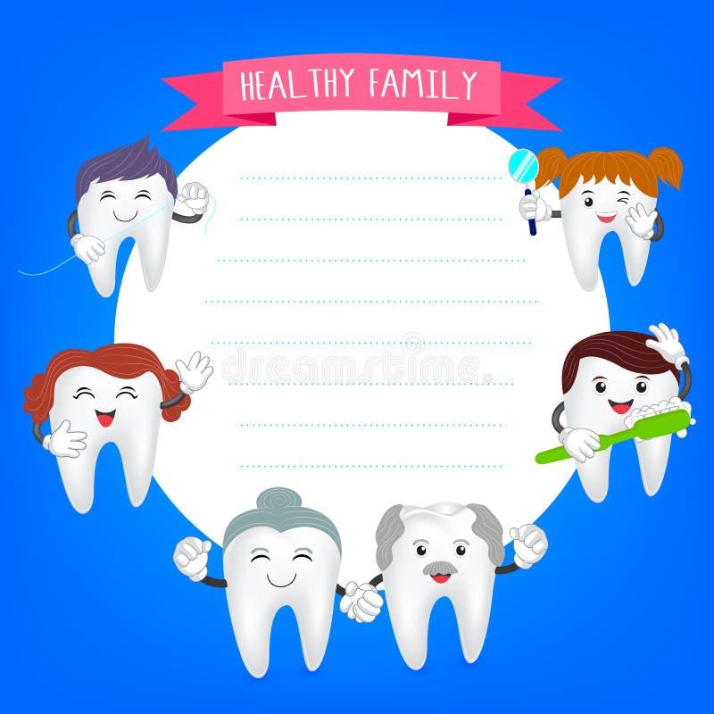 Lycklig familjtanduppsättning royaltyfri illustrationer