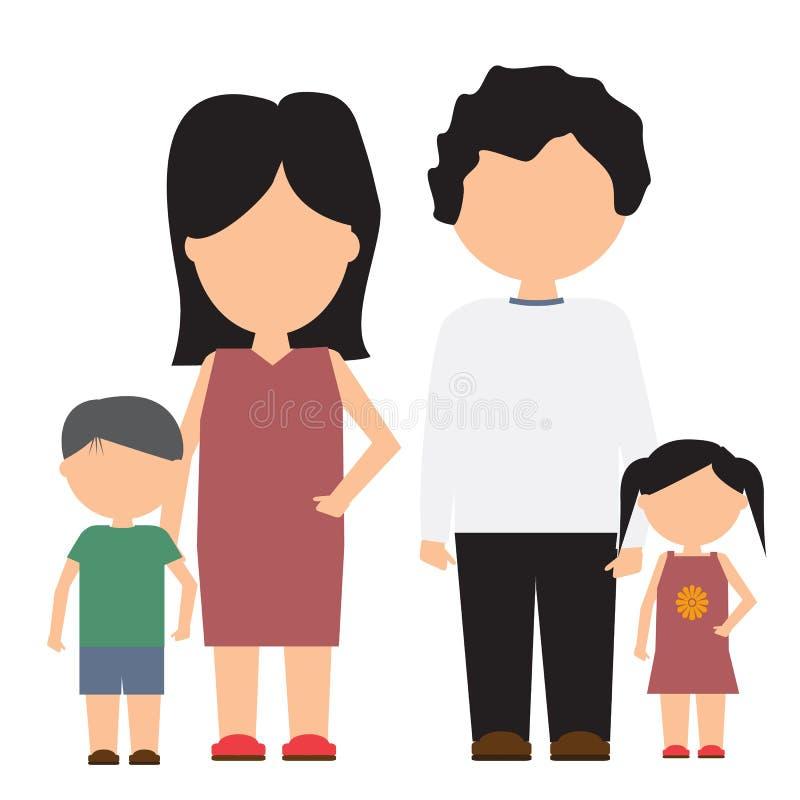 Lycklig familjvektorsymbol med design för plan och fast färg royaltyfri illustrationer