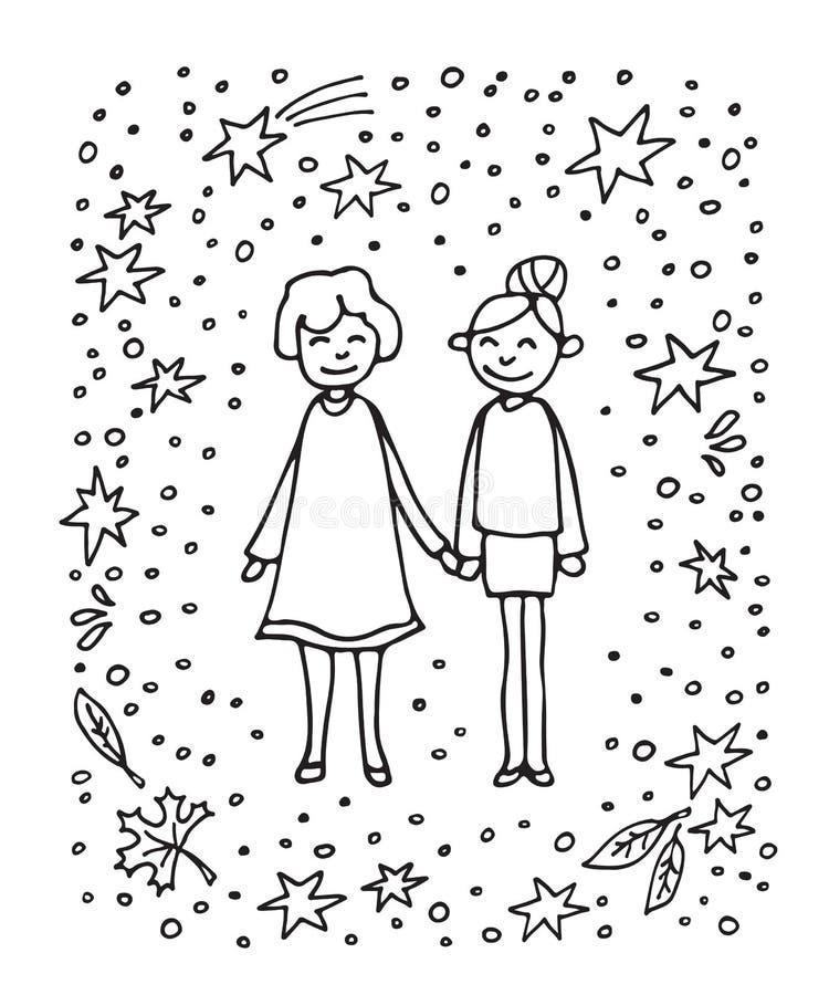 Lycklig family-06 stock illustrationer