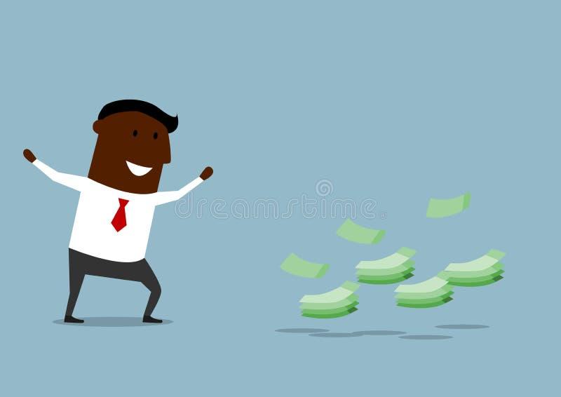Lycklig fann pengar för tecknad film affärsman royaltyfri illustrationer