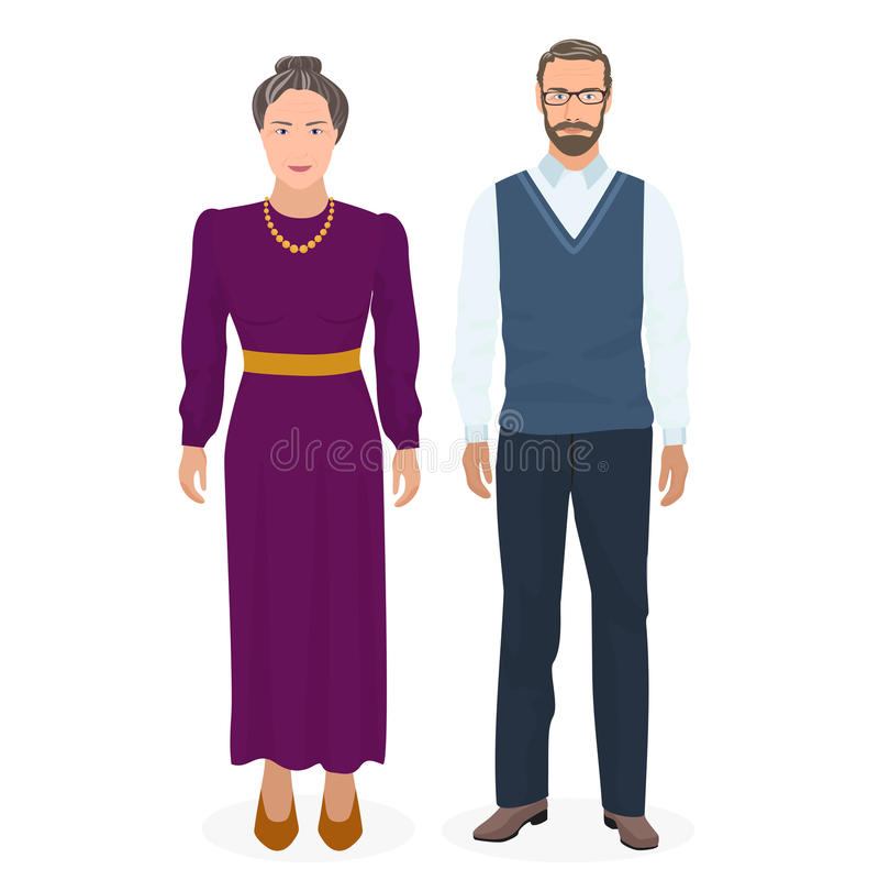 Lycklig farfar och farmor som tillsammans står Bra seende vuxet gamal man- och kvinnafolk i familj vektor stock illustrationer