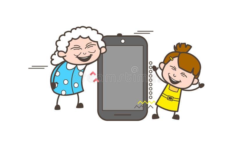 Lycklig farmor för tecknad film med lilla flickan och den Smartphone vektorillustrationen vektor illustrationer