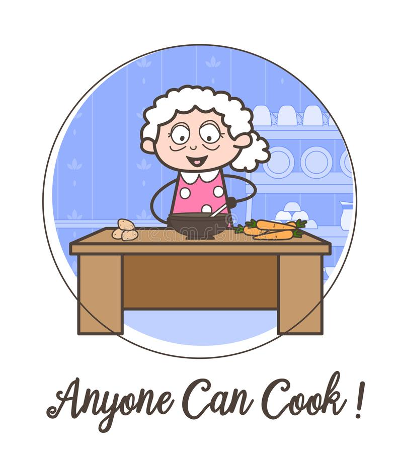 Lycklig farmor för tecknad film som lär illustrationen för matlagningreceptvektor vektor illustrationer