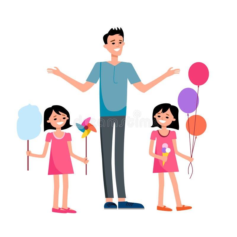 Lycklig farsa och barn stock illustrationer