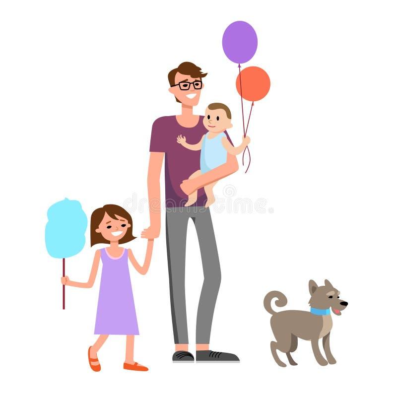 Lycklig farsa och familj royaltyfri illustrationer