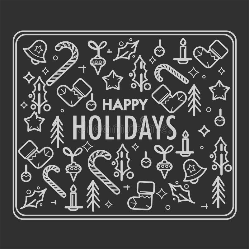 Lycklig ferie av jul, skissar av symbolvektor royaltyfri illustrationer