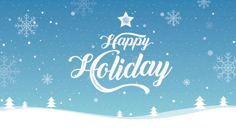 Lycklig ferie glad jul, lyckligt nytt år, landskapvinter, vektorillustration vektor illustrationer