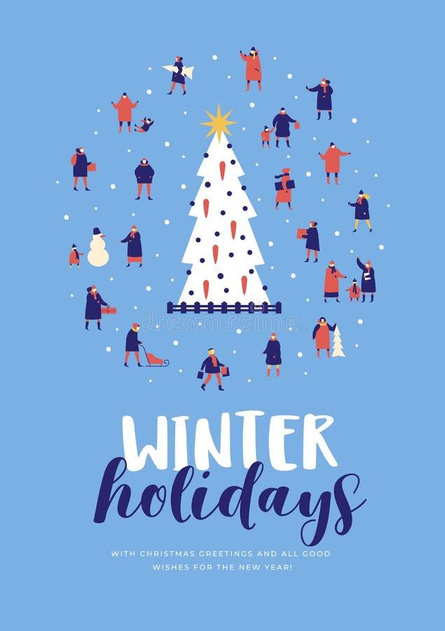 lycklig ferievinter Går bärande outerwear för den stora grupp människor runt om träd för nytt år stock illustrationer