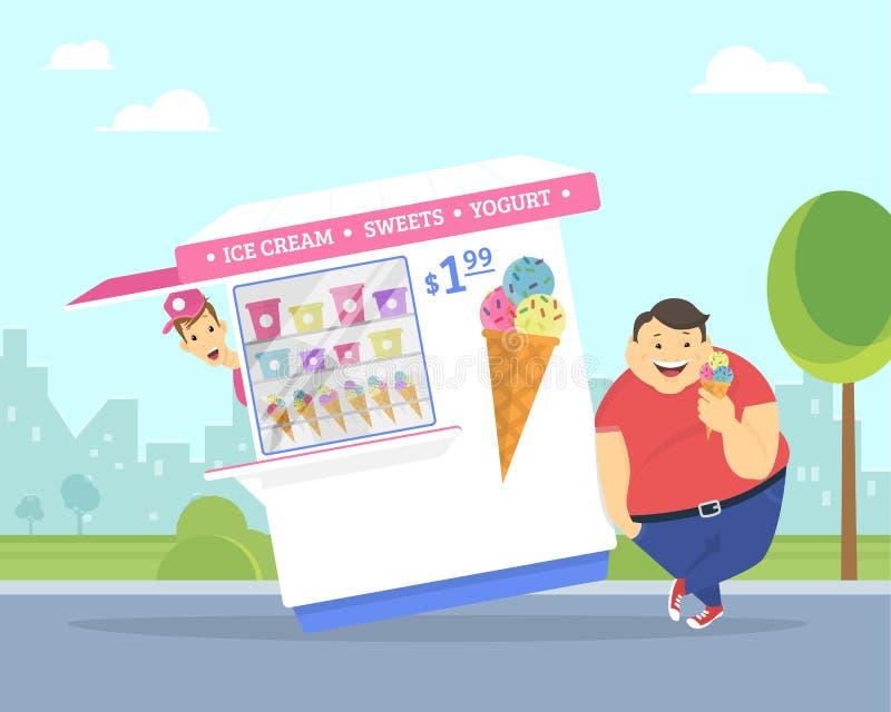 Lycklig fet man som äter glass i parkera stock illustrationer
