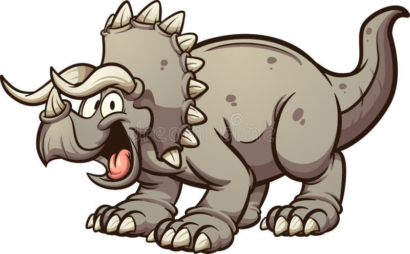 Lycklig fet tecknad filmtriceratopsdinosaurie vektor illustrationer