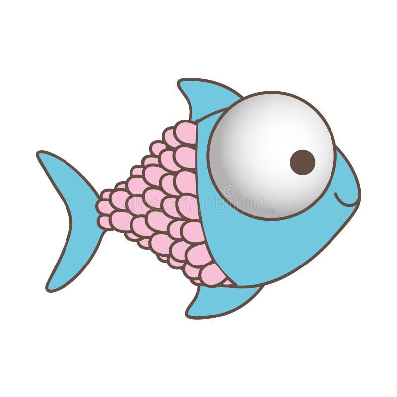 lycklig fisktecknad filmsymbol royaltyfri illustrationer