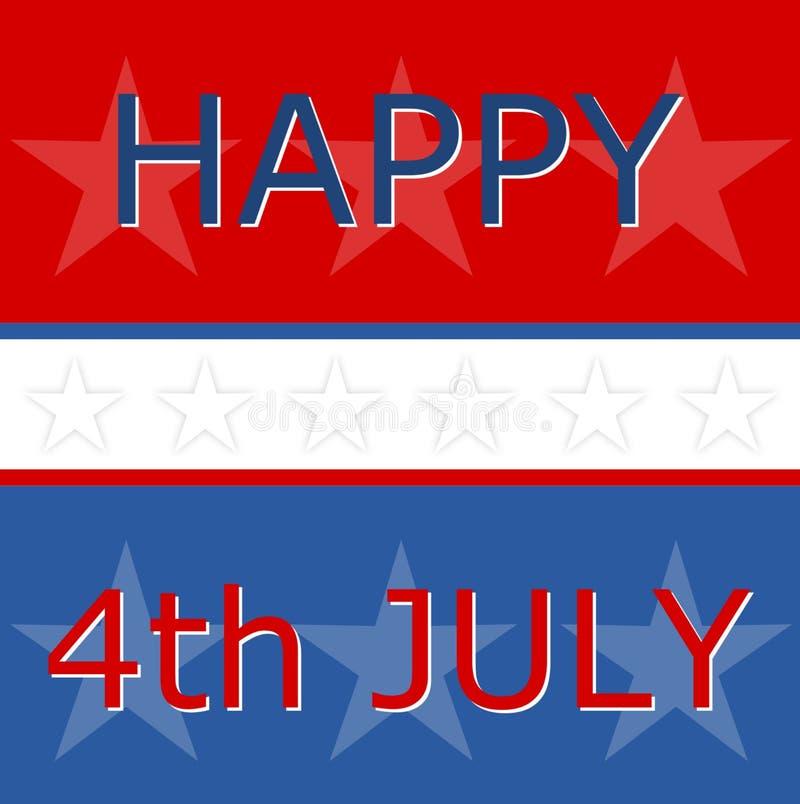 Lycklig fjärdedel av den Juli självständighetsdagen, oss flagga royaltyfri illustrationer