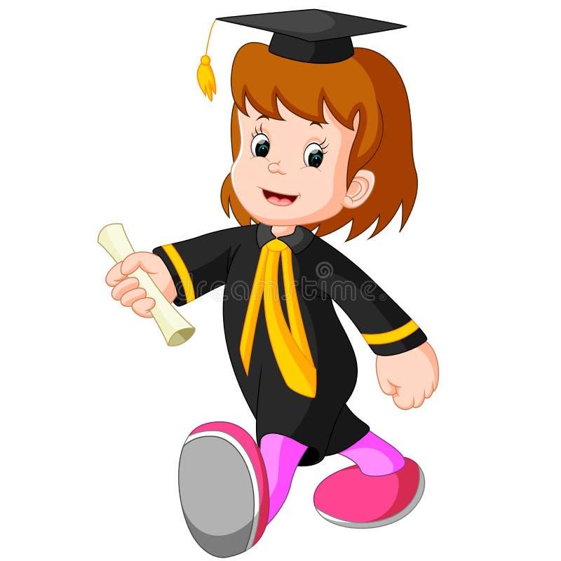 Lycklig flicka efter avläggande av examen royaltyfri illustrationer