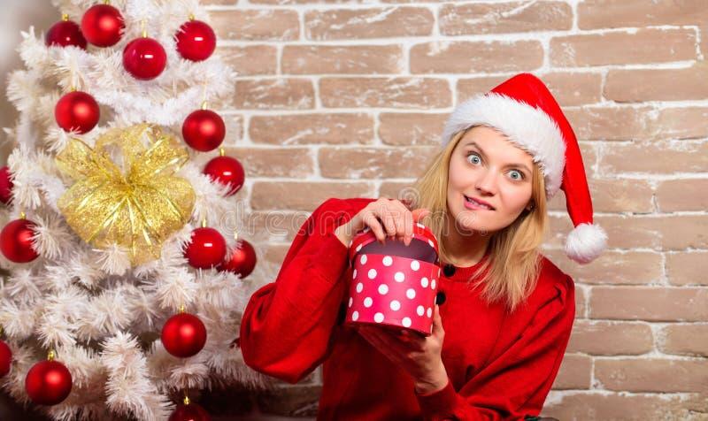 Lycklig flicka i den Santa Claus hatten Parti för nytt år Leveransjulgåvor Le kvinnan som firar jul glatt royaltyfria bilder