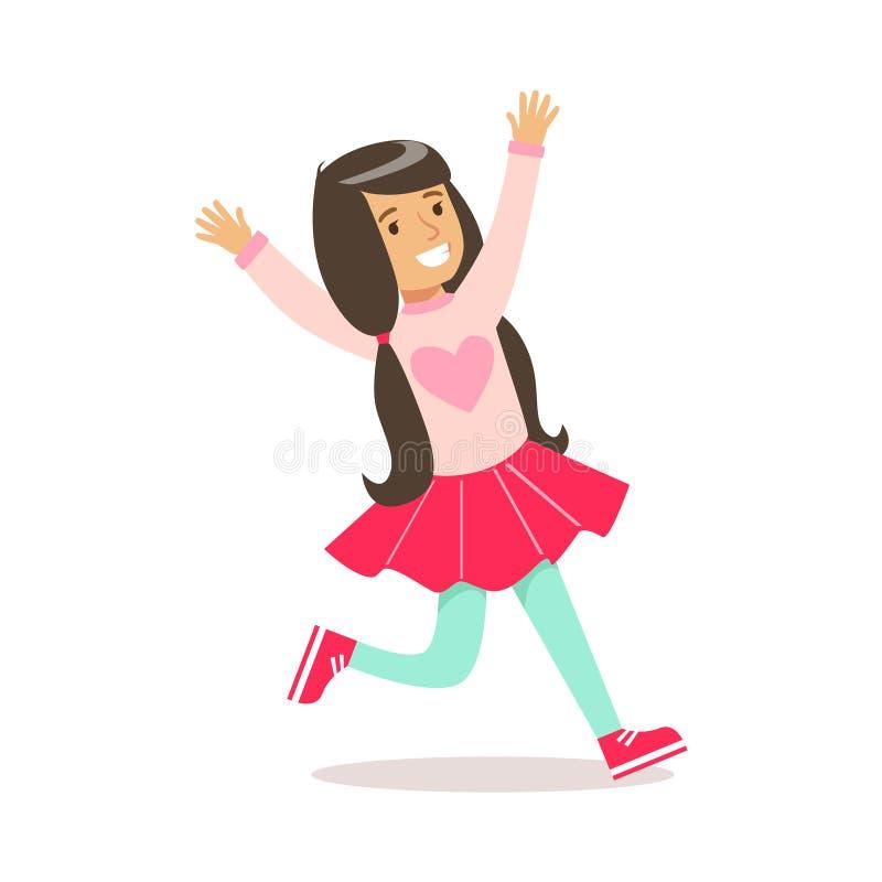 Lycklig flicka i färgtröja för klassiker flickaktigt med hjärtatryck och hästsvansar som ler tecknad filmteckenet stock illustrationer