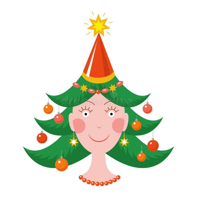 Lycklig flicka i lynne för nytt år med en julgranfrisyr vektor illustrationer