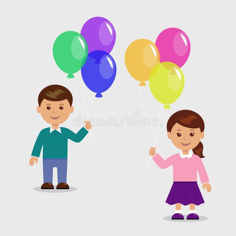 Lycklig flicka med ballonger stock illustrationer