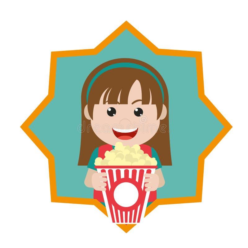 Lycklig flicka med den inre stjärnan för popcornask vektor illustrationer
