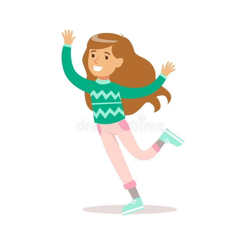 Lycklig flicka med långt brunt hår i färgkläder för klassiker som flickaktigt ler spring för tecknad filmtecken vektor illustrationer